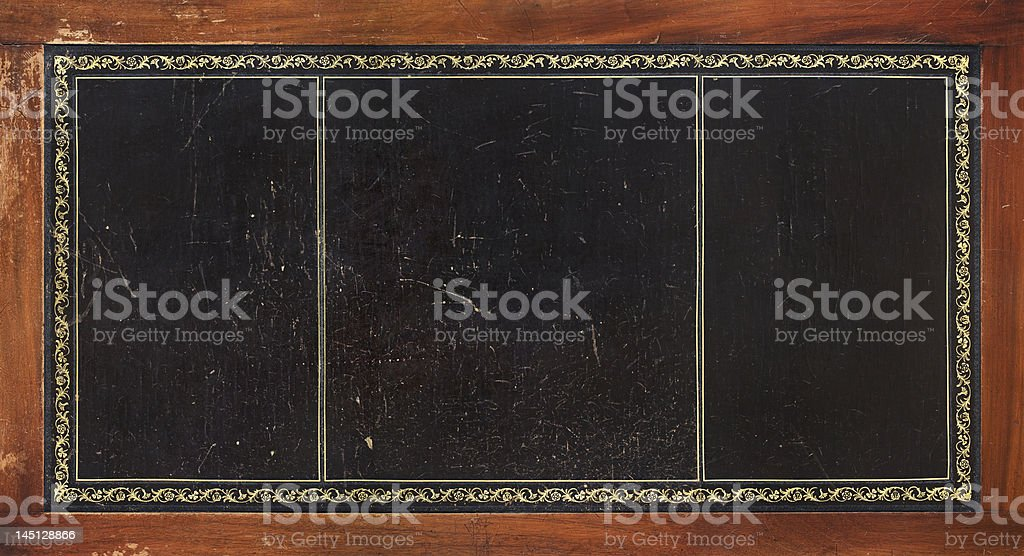 old desk top with gold ornaments XXXL stock photo