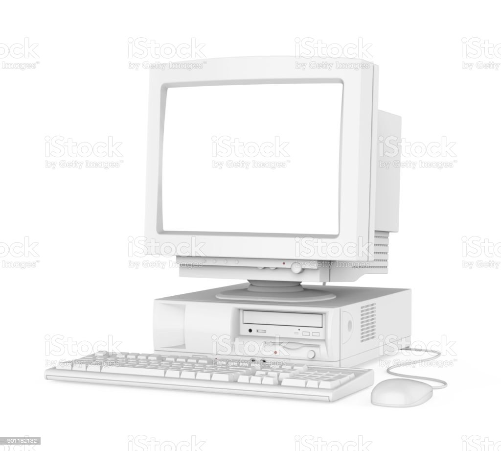 Alten Desktopcomputer Mit Einer Leeren Weißen Bildschirm Monitor Tastatur  Und Maus Isoliert Stockfoto und mehr Bilder von Alt