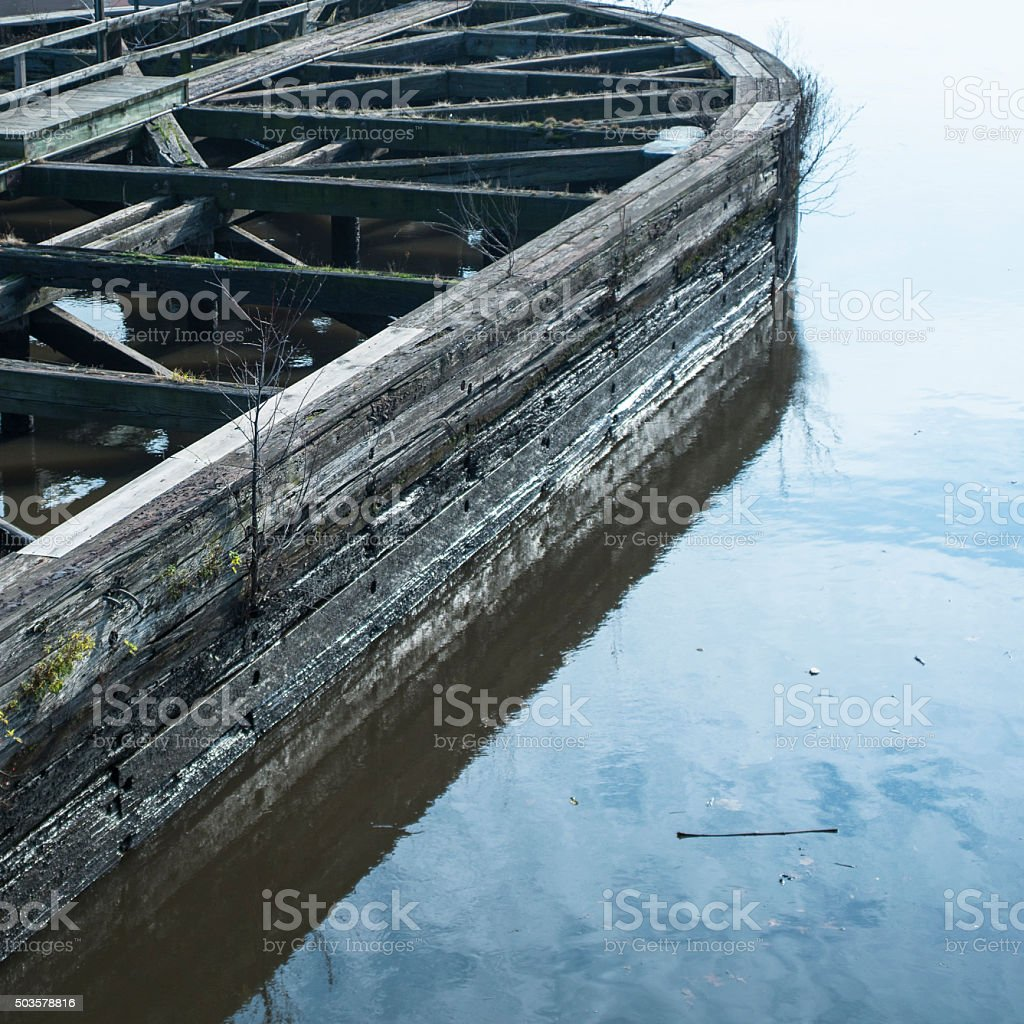 Old destroyed bridge at the river in New Jersey stock photo