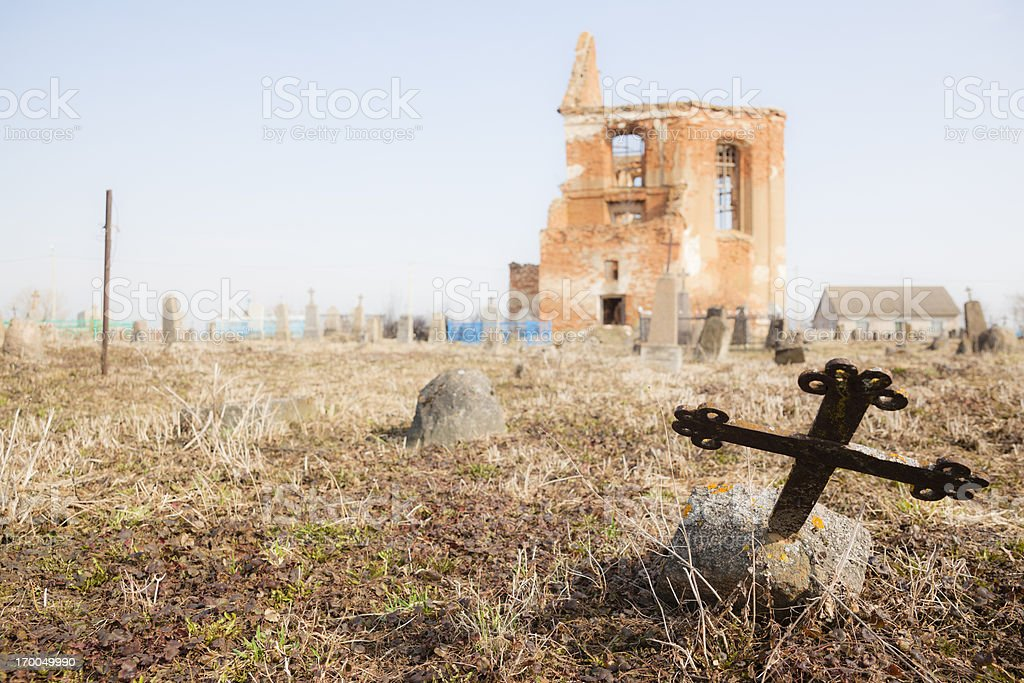 Old destroyed cemetery royalty-free stock photo