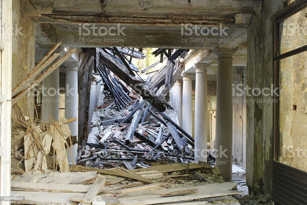 old destroyed house rubble of the destroyed House after the war in Yugoslavia Accidents and Disasters Stock Photo