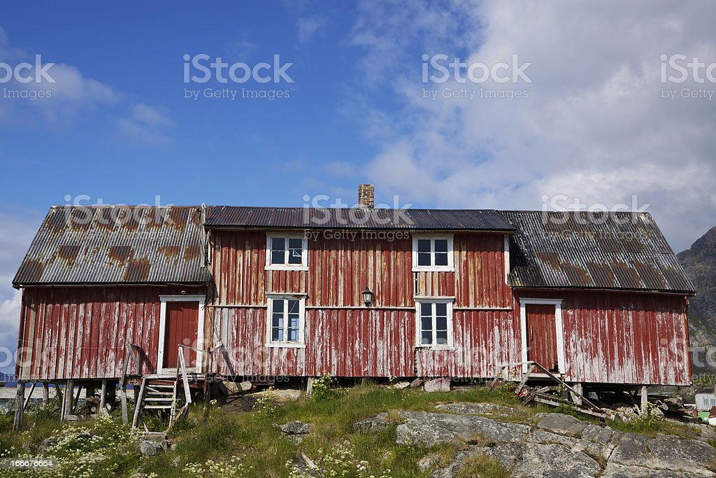 Old deteriorated fishing house royalty-free stock photo