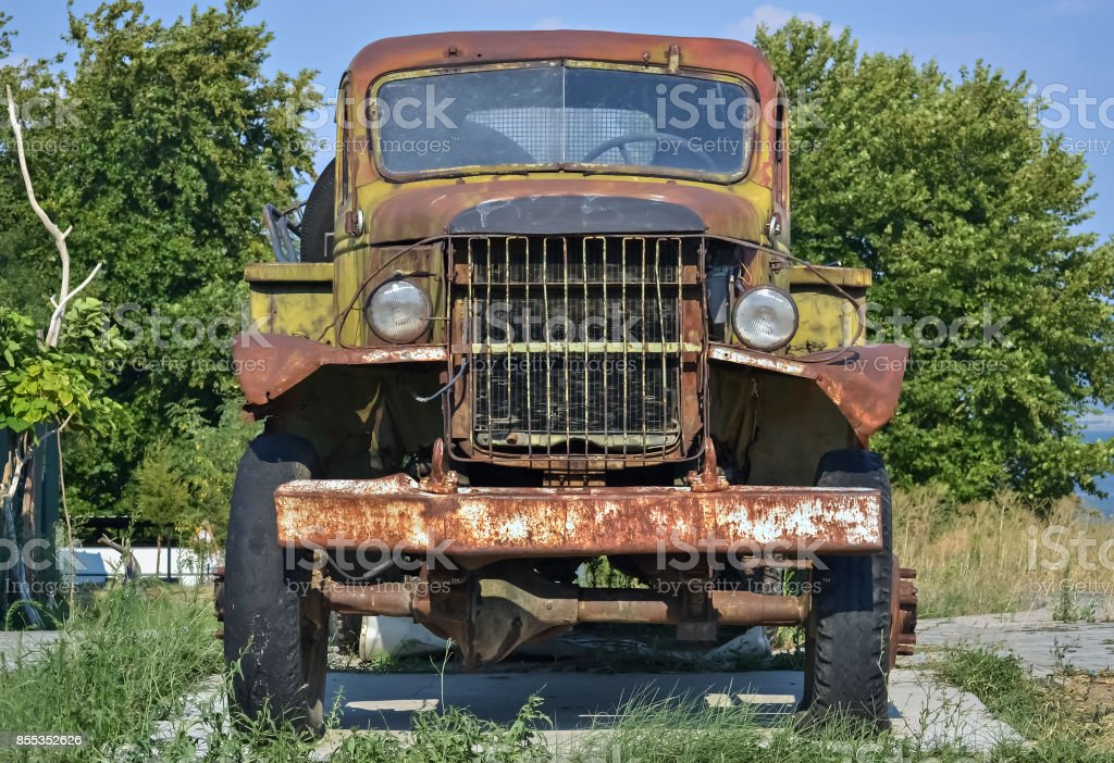 Old devastated truck stock photo