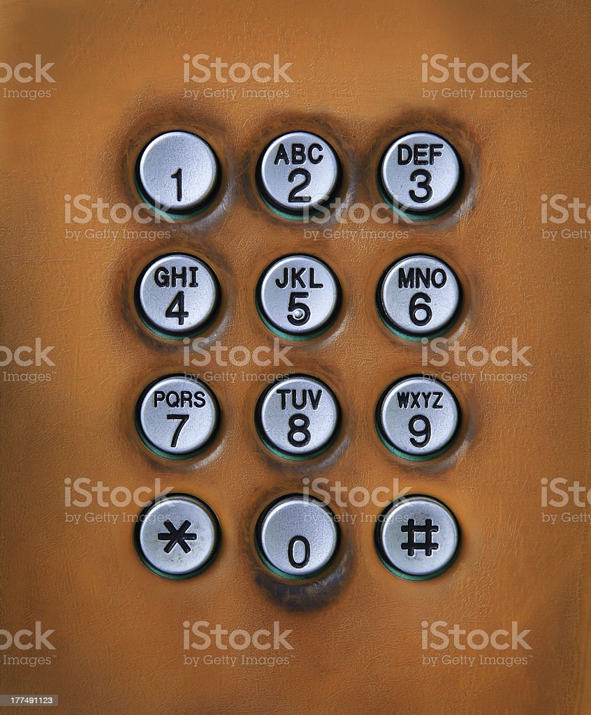 old dial number button on public telephone royalty-free stock photo