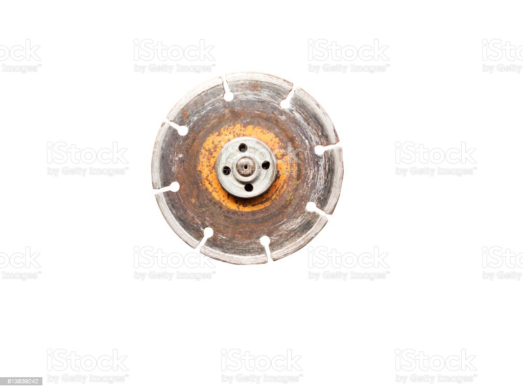 Old diamond wheel blade for grinder isolated on white background (clipping path included) stock photo