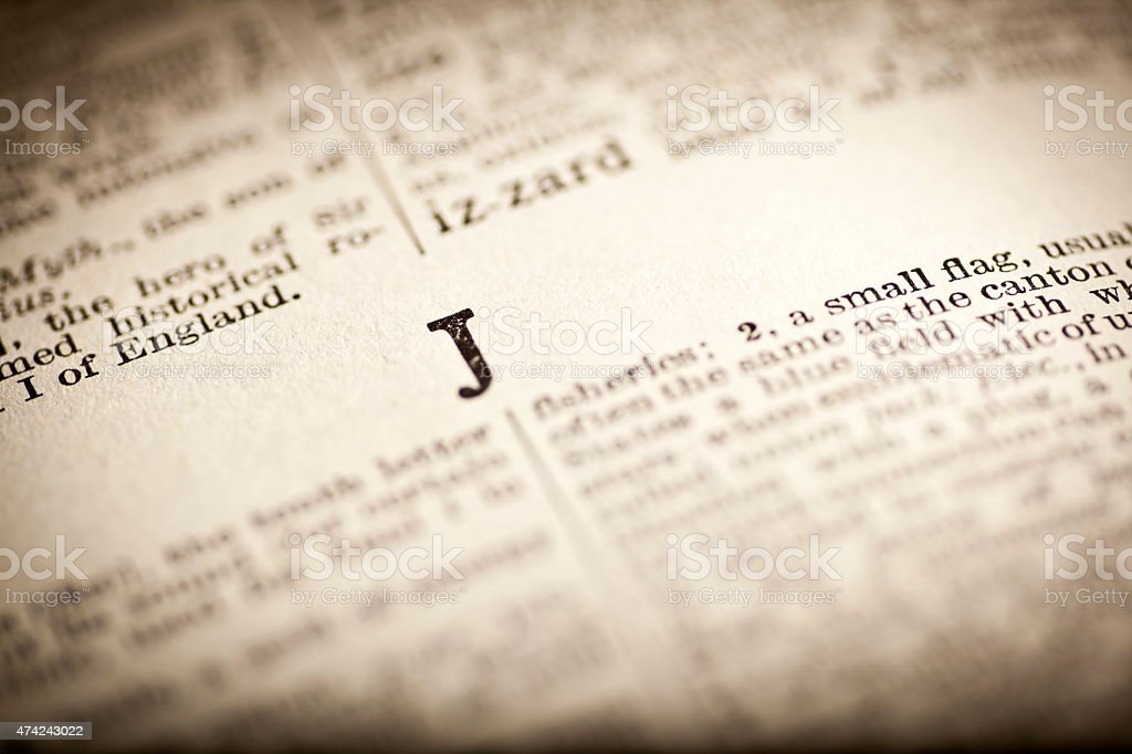 Old Dictionary Open At Letter J stock photo