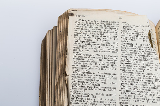 Old Dictionary with torn pages