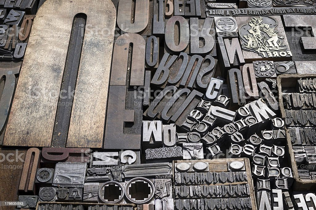 Old die press letters and numbers stock photo
