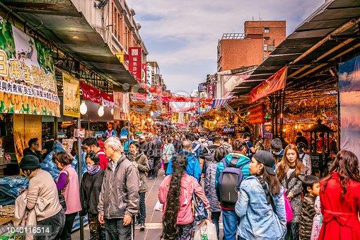 15 February 2018, Taipei Taiwan: Old Dihua jie shopping street view full of people in Taipei Taiwan