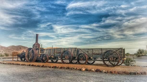 Old Dinah Steam Tractor in Death Valley National Park, California stock photo
