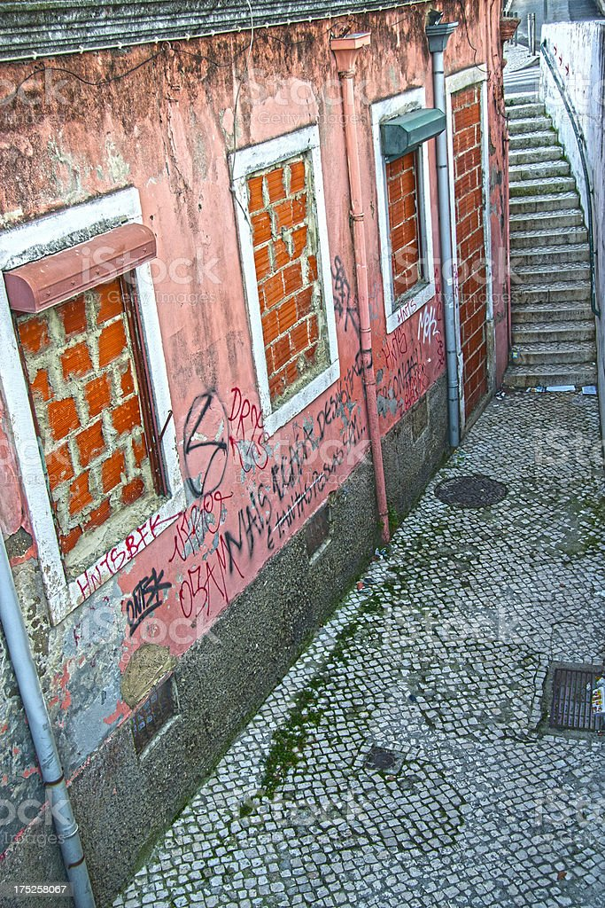 Old dirty alley royalty-free stock photo