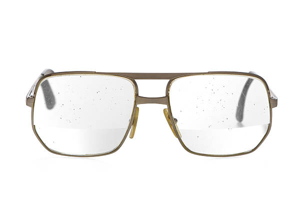 Old Dirty Bifocal Lens Glasses stock photo