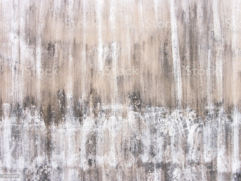 old, dirty, broken white concrete wall with black stain background stock photo
