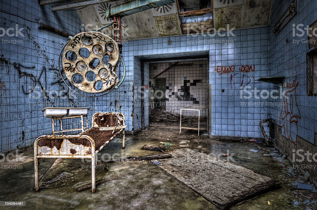 Old dirty creepy surgery room long since abandoned  stock photo