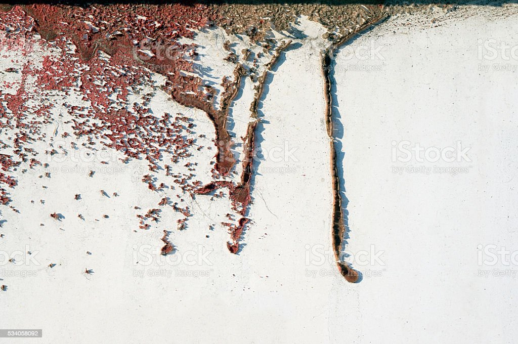 Old dirty, grunge,metal fence with runny red paint 15 stock photo