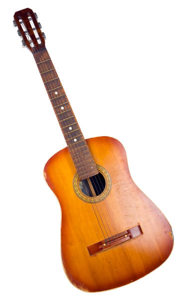 old dirty no-name broken acoustic guitar - broken guitar stock photos and pictures