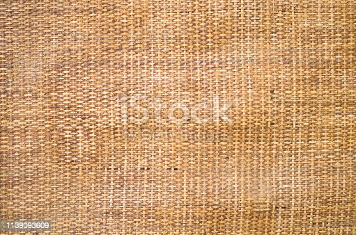 Old dirty orange wicker rug closeup