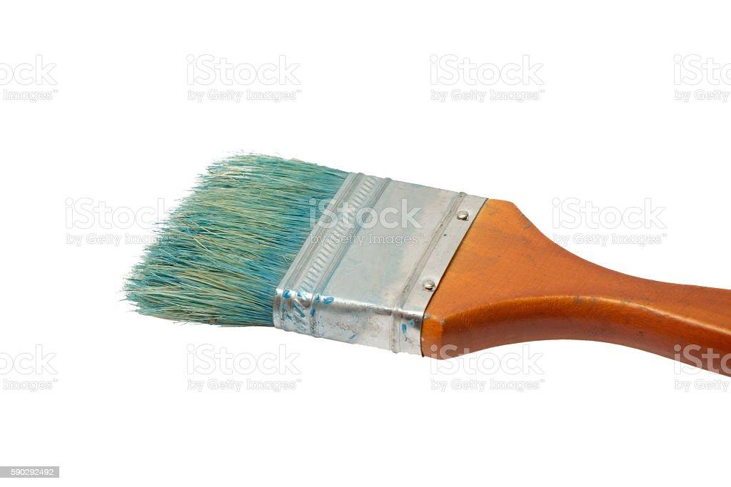 Old dirty paint brush isolated on white royaltyfri bildbanksbilder