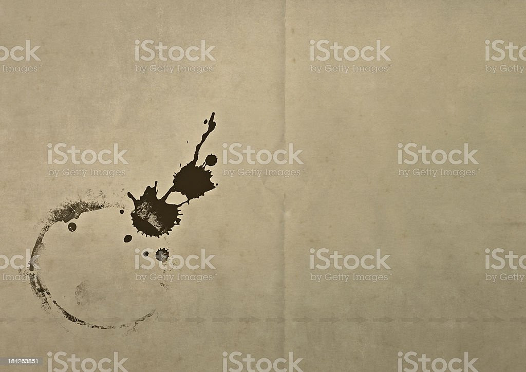 old dirty paper with grunge stain stock photo