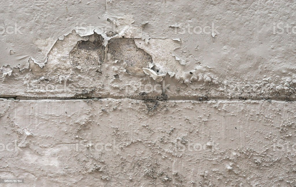 Old dirty plaster wall with cracked structure background. Brick mortar wall texture. renovate concept., gray texture background stock photo