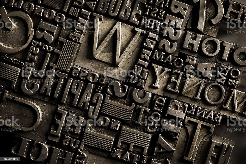 old dirty printing types background stock photo