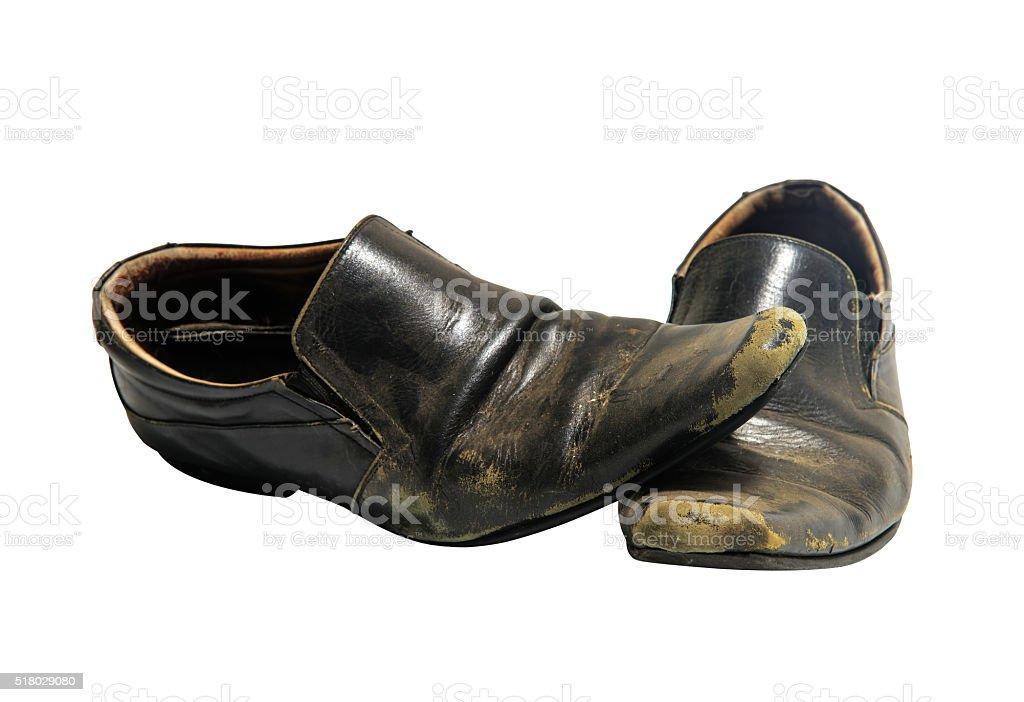 Alte schmutzige Schuhe, isoliert auf weiss – Foto
