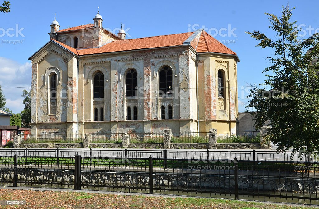 Old disrepair jewish synagogue in Bytca, Slovakia stock photo