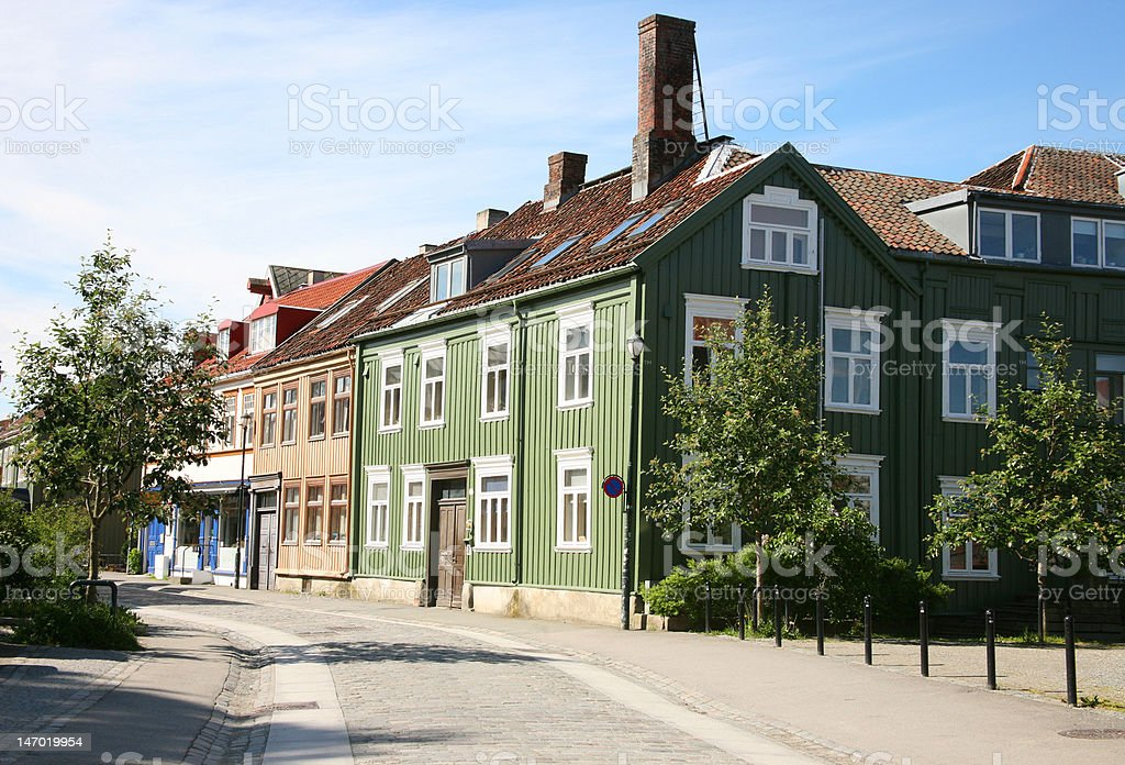 Old district in Trondheim city, Norway royalty-free stock photo