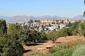 Old district of Granada, view from Alhambra in a sunny Autumn day