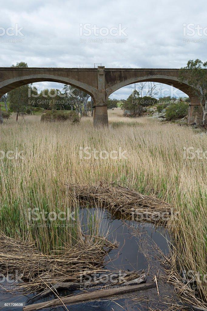 Old Disused Railway Bridge, Palmer, South Australia stock photo