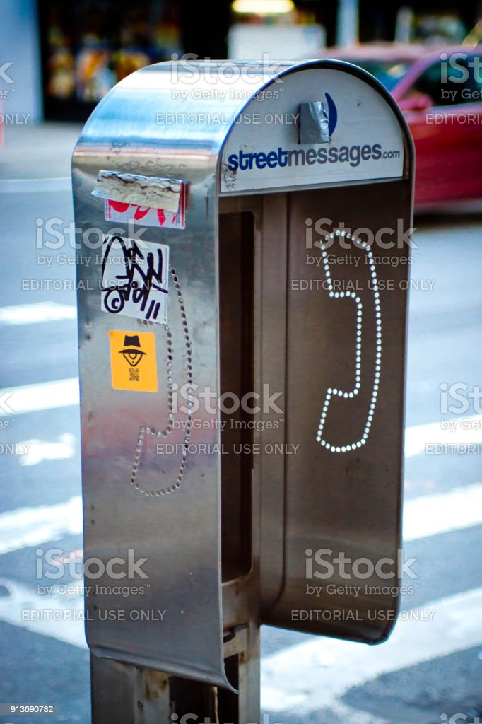 Old disused telephone booth stock photo