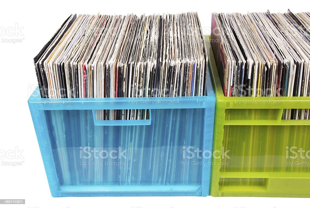 Old dj records stock photo