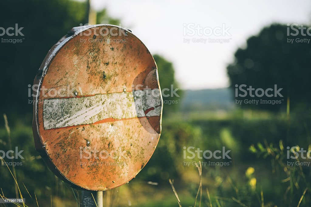 Old Do Not Enter Road Sign royalty-free stock photo