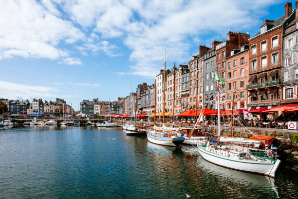 Old dock - Honfleur, France The Vieux Bassin. normandy stock pictures, royalty-free photos & images