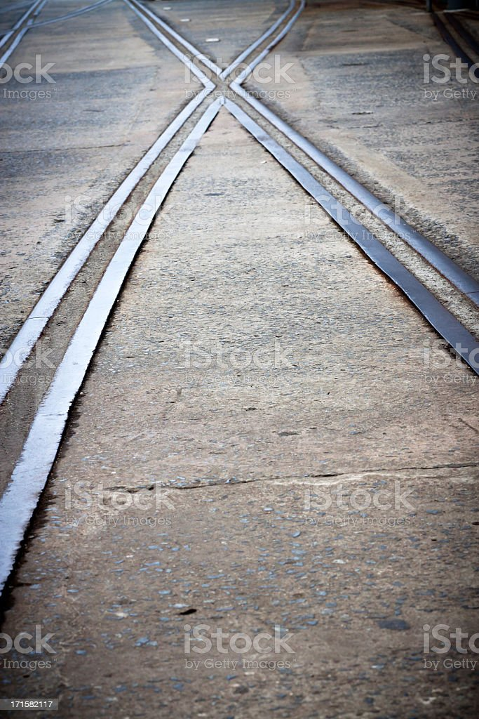 Old docks sidings crossing with vignette stock photo