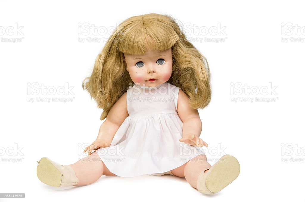 Old doll isolated on white stock photo