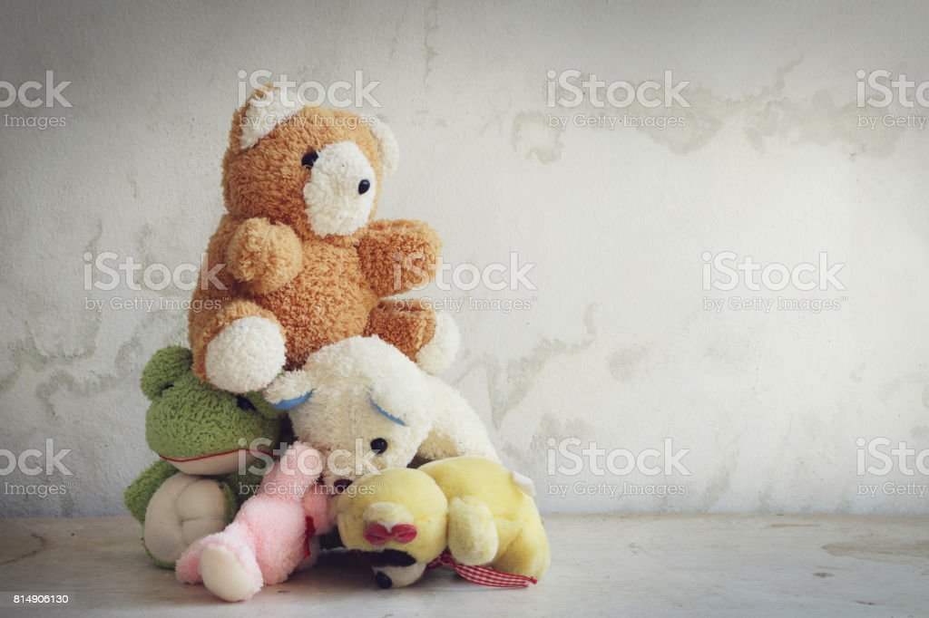 Old dolls pile stock photo