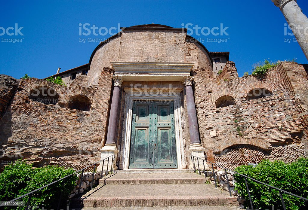 Old door among the ruins stock photo