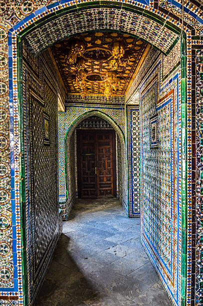 Old door and exquisite tile work Old door and exquisite tile work  - Royal Alcazar in Seville, Spain alcazar palace stock pictures, royalty-free photos & images