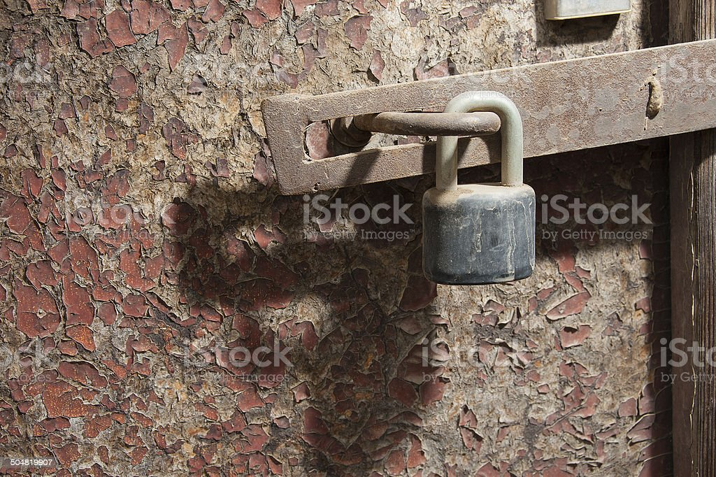 Old door and lock royalty-free stock photo