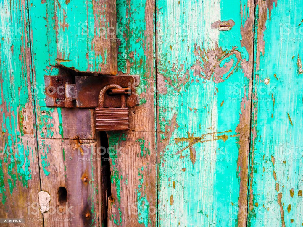 Old door and rusty lock stock photo