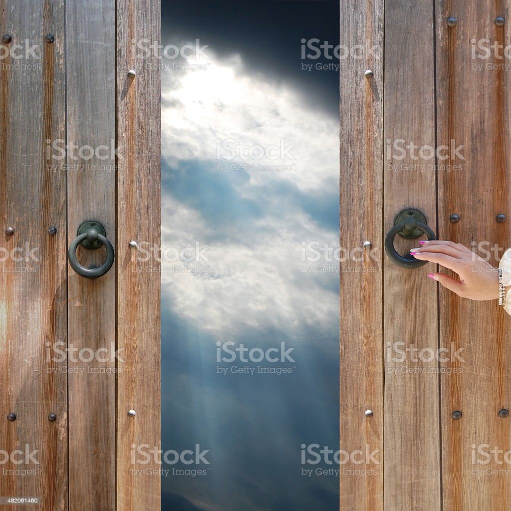 Old door and sky stock photo