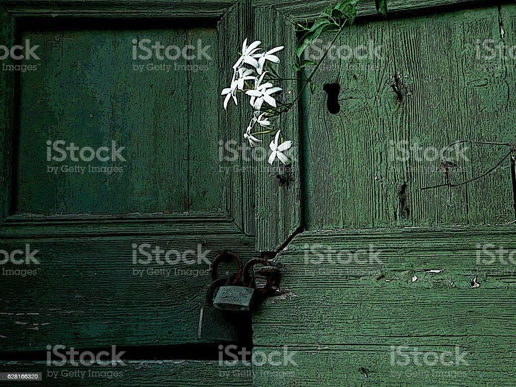 Old door detail, Serifos, Greece stock photo