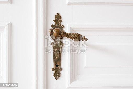 old door handle closeup on wooden door in beautiful apartment - interior