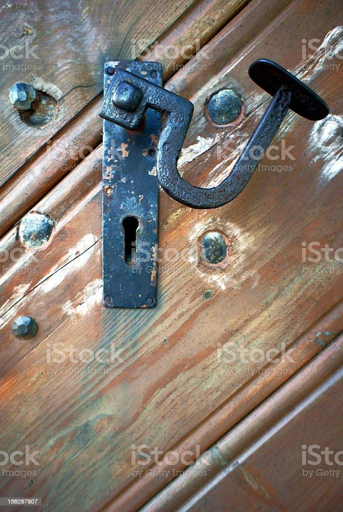 old door handle in Wooden church royalty-free stock photo