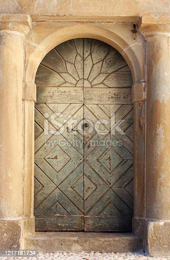 Old Door in Bergamo, Italy. The alpine Lombardy region of northern Italy.
