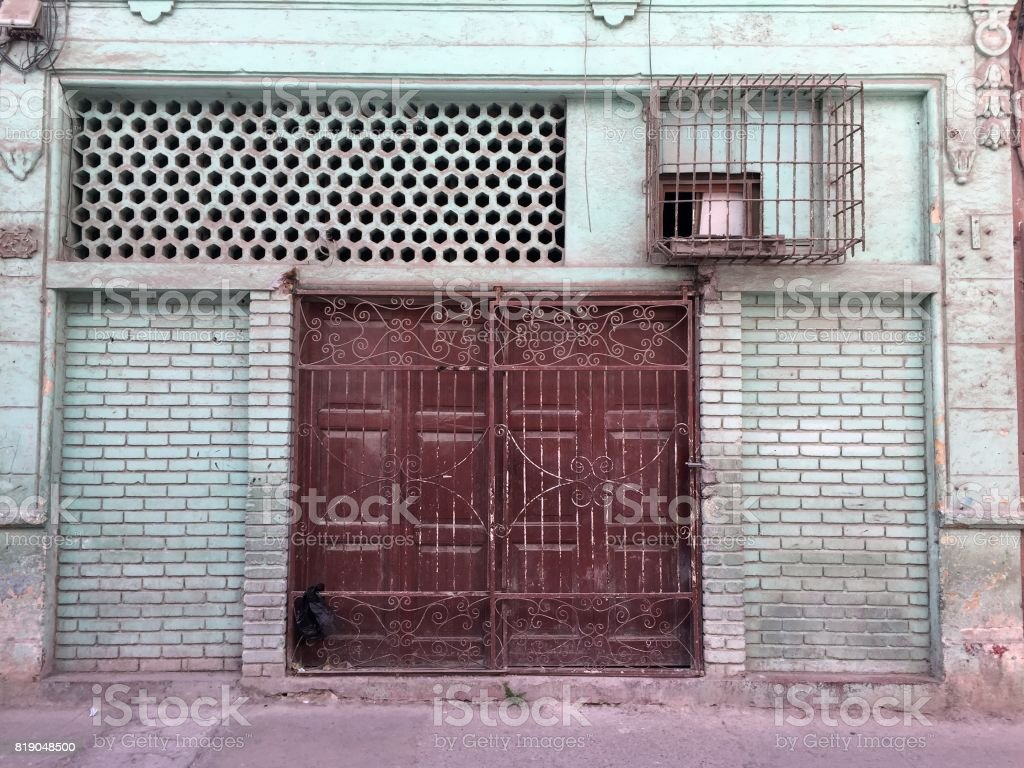 Old door in Havana stock photo