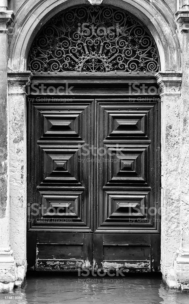 Old Door in venice. Black and White royalty-free stock photo