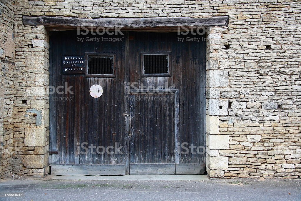 old door on wall royalty-free stock photo