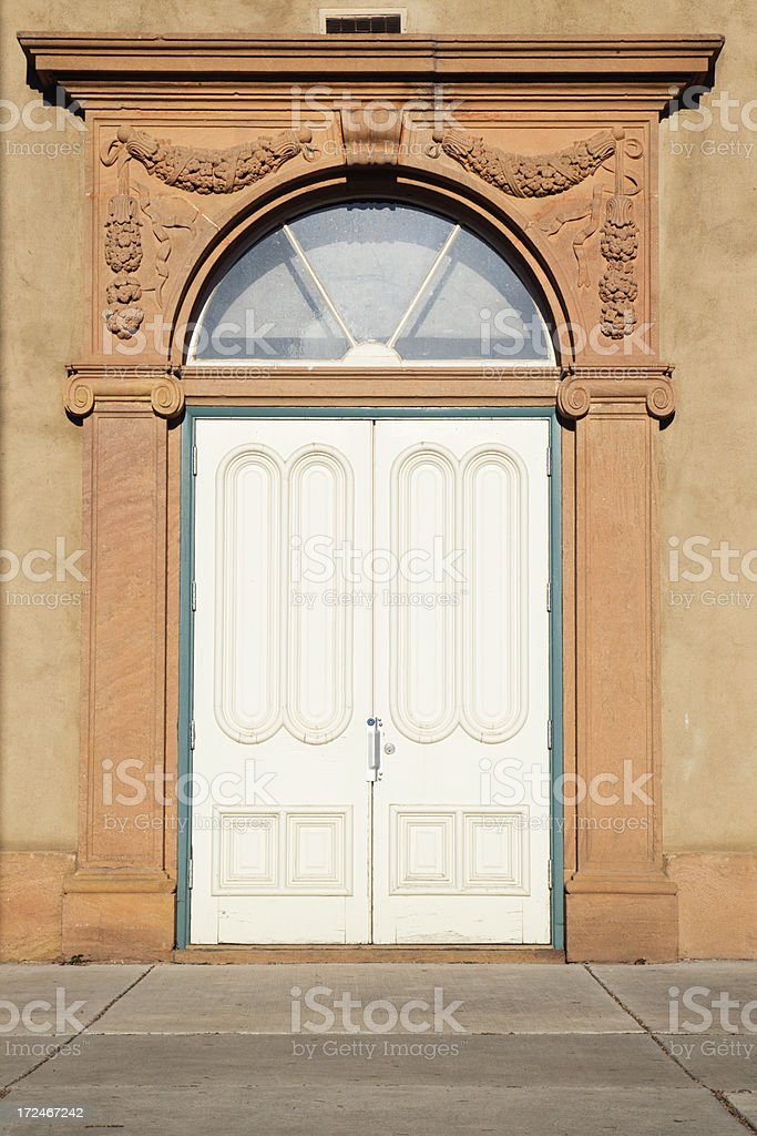Old Territorial style door in Santa Fe, New Mexico, USA.